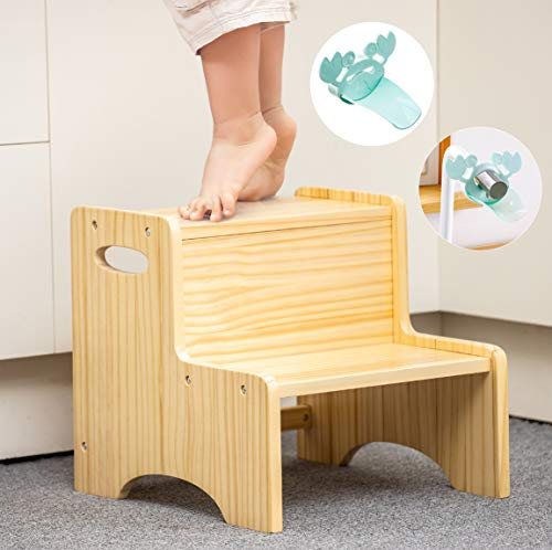 WOOD CITY Toddler Step Stool for Kids Wooden Two Step Children#039s Stool with Handles Bonus NonSlip Pads for Safety Bathroom Potty Stool amp Kitchen Step Stools Pine Wood