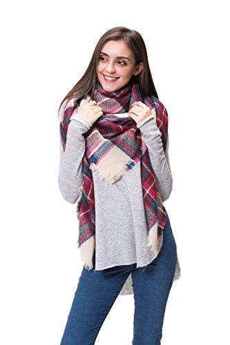 Lemef Damen Schal Kariert Winterschal Quadratisch Deckenschal Karo Tartan Streifen Plaid Muster Oversized Fransen Poncho