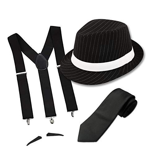 FancyDressFactory Erwachsener Gangster-Kostüm-Nadelstreifen-schwarzer Hut mit Krawatte und Schnurrbart (Schwarz)