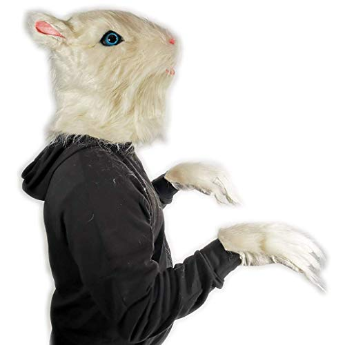 Rubber Johnnies , Mscara de caniche peludo, con guantes peludos, cabeza completa, mscaras de disfraces, realistas, mscaras de animales, franceses
