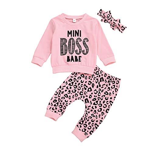 Geagodelia Bebé niña primavera traje cuello redondo suéter de manga larga estampado leopardo pantalones lazo diadema bebé trajes conjunto ropa recién nacido
