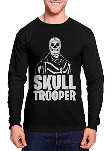 Skull Trooper - Battle Royale Video Game Unisex Long Sleeve Shirt (Black, Small)