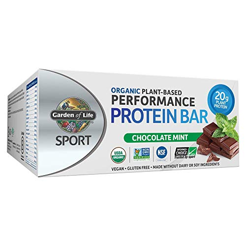 Price comparison product image Garden of Life SPORT Organic Plant Based Performance Protein Bars - Chocolate Mint,  12 Count,  20g Pure Protein per Bar,  Vegan,  Low Carb,  Organic,  Non-GMO,  Gluten Free,  Certified Clean for Sport