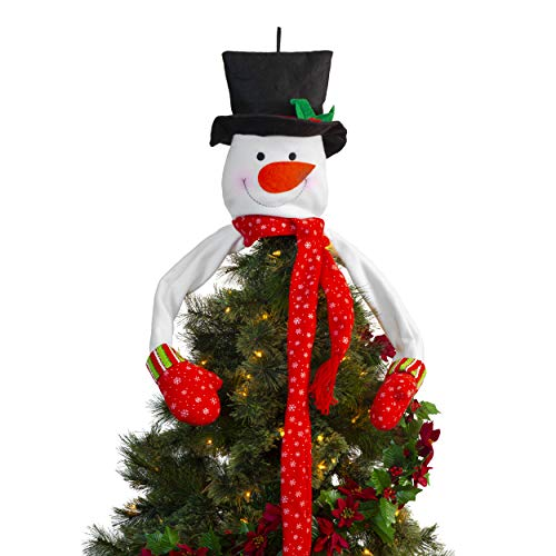 Besti Snowman Christmas Tree Topper - Whimsical Holiday Decoration and Ornament for Home, Office - Stuffed Polyester Winter Character with Top Hat, Mittens, Carrot Nose, Long Arms and Scarf - 13 Inch