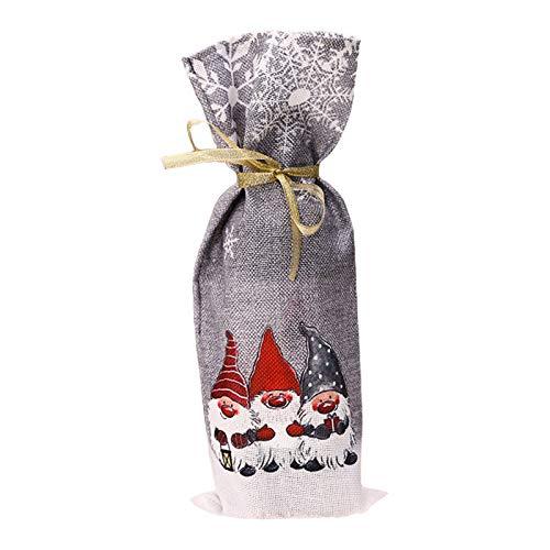 WDFVGEE - Funda para botella de vino tinto con diseño de gnomo sueco de Navidad, decoración para el hogar, significa una familia feliz y afortunada