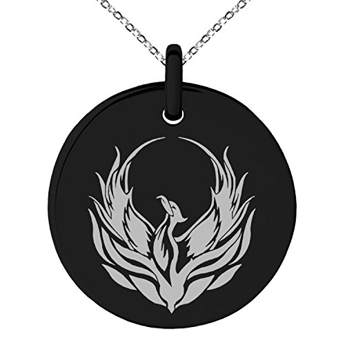 Tioneer Black Stainless Steel Greek Mythology Phoenix Symbol Small Medallion Circle Charm Pendant Necklace