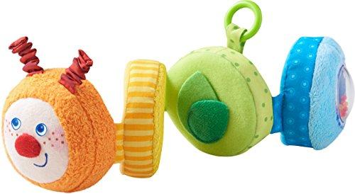 HABA 303246 - Spielfigur Raupe Mina | Baby-Spielzeug aus Stoff mit vielen Spieleffekten zum Entdecken |Spielzeug ab 6 Monaten