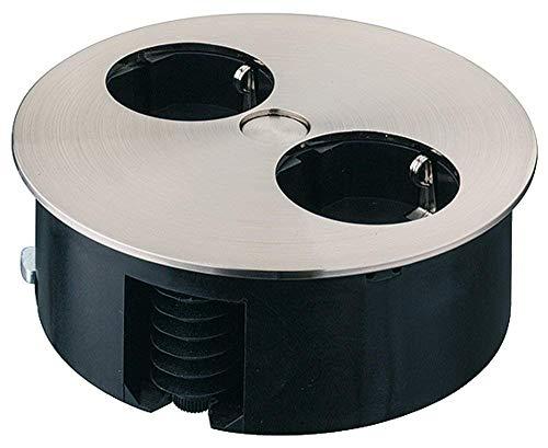 Gedotec meubel-inbouw-stopcontact draaibare stekkerdoos in roestvrij staal-look voor tafelbladen en werkbladen | 2-voudig verzonken contactdoos | 230 V | 1 stuk – design tafelstopcontact rond om in te laten lopen