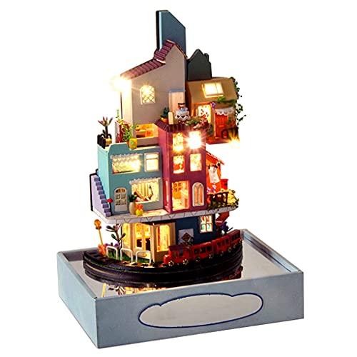 perfeclan Kit de casa de muñecas Miniatura DIY para Adultos con Muebles de Arte romántico Regalo Mini casa de muñecas de Madera con luz Led Dulce Juguete para