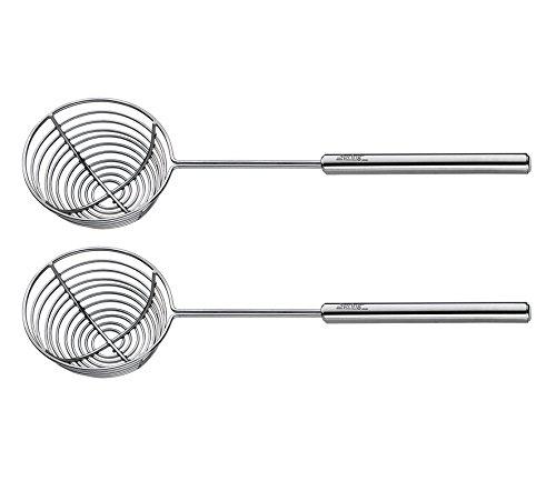 Spring 2698310602 fondue-zeefje professioneel 2 stuks, roestvrij staal, zilver, 3,6 x 11,6 x 24,2 cm