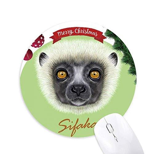 White Fluffy Sifaka Affe Round Rubber Maus Pad Weihnachtsbaum Mat