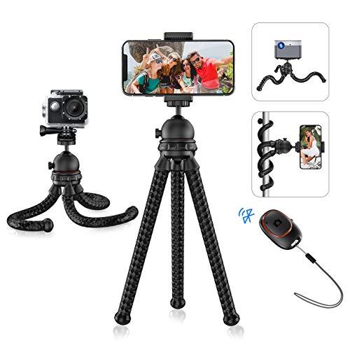 Handystativ, Mpow flexibles Smartphone Stativ mit Bluetooth 5.0-Fernauslöser und 360 ° -Drehung, tragbarer Kamerastativ für Vlog, kompatibel mit Smartphone, Kamera, GoPro, Stativ für iPhone, Samsung.