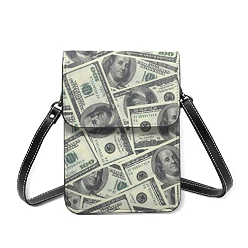 Ahdyr Billetes de cien dólares Monedero de cuero para teléfono móvil para mujer Bolso pequeño bandolera Monedero Monedero Monedero Bolsas de pasaporte de viaje con ranuras para tarjeteros