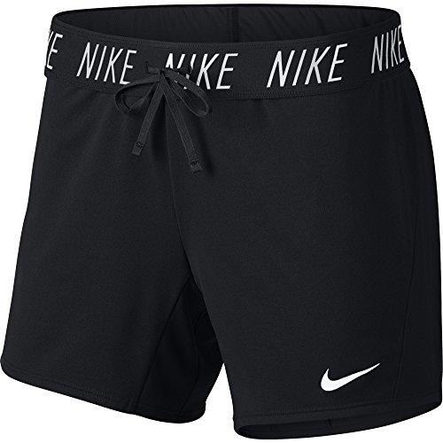 Nike Women's Dry Training Shorts, Sweat-Wicking Running Shorts Women Need for High Intensity Comfort, Black/White, L