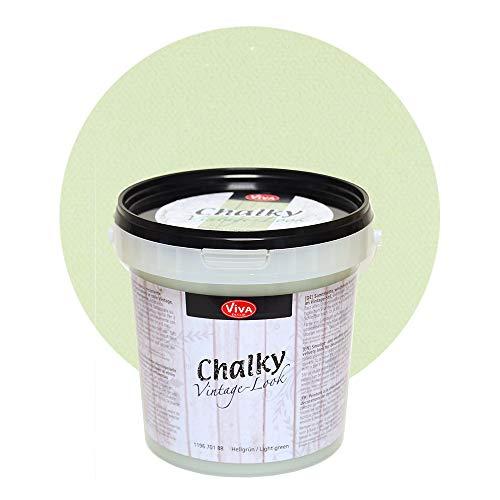 Viva Decor®️ Chalky Vintage-Look (1000 ml, Hellgrün) dekorative Lasur - Vintage Kreidefarbe für Shabby Chic - Chalk Paint für Innen und Außen - Made in Germany