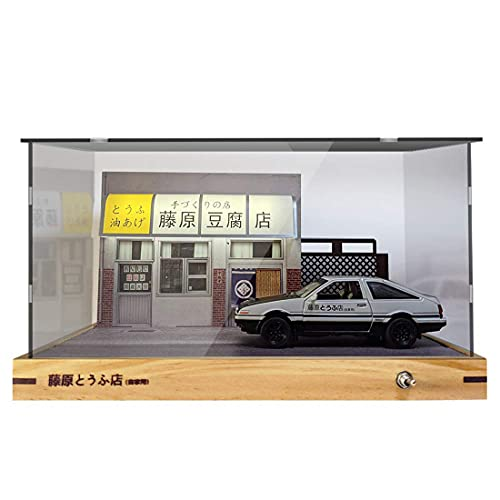 1:24 Initial D AE86 Scene Scale Die-cast Car Garage Display Case with Clear Acrylic Cover and LED Lighting (with Car Model)