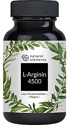 L-Arginin - 365 vegane Kapseln - 4500mg pflanzliches L-Arginin HCL pro Tagesdosis (= 3750mg reines L-Arginin) - Laborgeprüft, hochdosiert, vegan
