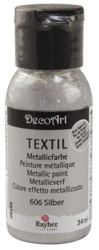 Rayher 38509606 Metallic Textil Stoffmalfarbe/ Textilfarbe silber brilliant, Flasche 34 ml, hochdeckend, cremige Acrylfarbe speziell für Textilien, waschfest, Metallic - Farben, Metallic-Look