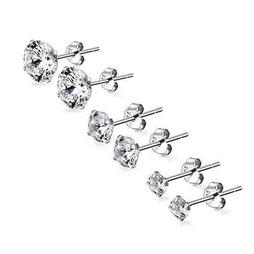 3 pares de pendientes para mujer de plata de ley 925 con circonita, pendientes de plata de ley y circonitas, para hombre, mujer, niña, pendientes redondos de plata