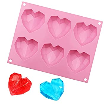 Pengxiaomei Diamond Heart Love Shape Cake Mould,Non-Stick Chocolate Mousse Dessert Baking Pan,3D Silicone Mold for Cake Baking,Candy,Soap 1pcs/Heart Love Shape 2.5×2.6×0.8 inch
