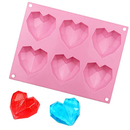 Pengxiaomei Diamond Heart Love Shape Cake Mould,Non-Stick Chocolate Mousse Dessert Baking Pan,3D Silicone Mold For Cake Baking, Candy, Soap, Chocolate Mousse (1pcs/Heart Love Shape 2.5×2.6×0.8 inch)