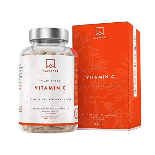 Complejo de Vitamina C Pura - Natural y Altamente Concentrada - 100% Vegano - Con Flavonoides de Fruta Cítrica, Camu Camu y Acerola - Apoya el sistema inmunológico y reducen la fatiga - 180 Cápsulas