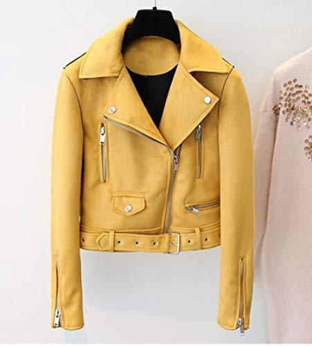 EIJFKNC Lederjacke Gelbe Lederjacke Damen Slim Zipper Biker Coat Schwarz Motorrad Biker Belted Short Mäntel Basic Street Outwear, gelb, S