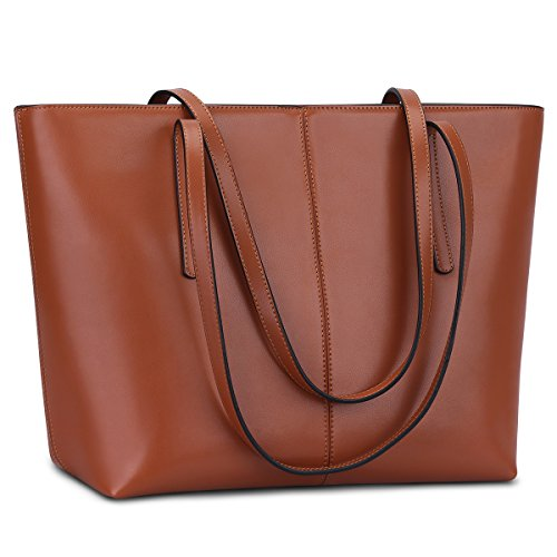 S-Zone Women's Soft Genuine Leather Tote Handle Shoulder Bag Fit 14 in Laptop, Matte Brown, L