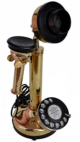 Antique Replica Rotery Dial Home Decor Candlestick Functional Antique Finish Desk Telephone (Full Brass 2)