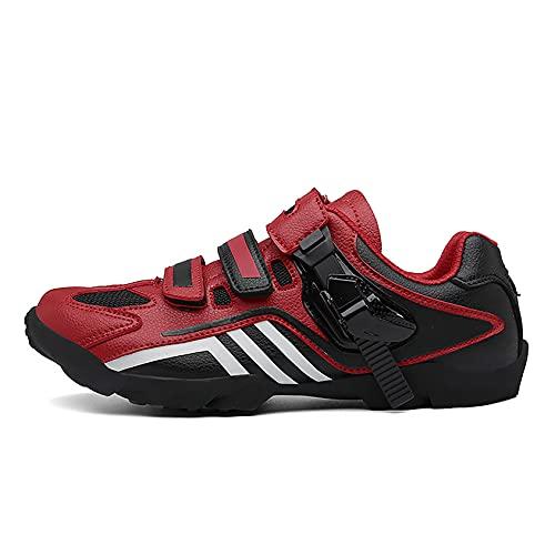 RTY Zapatos de Bicicleta sin Hacer Clic, Suela de Goma,Rojo,39