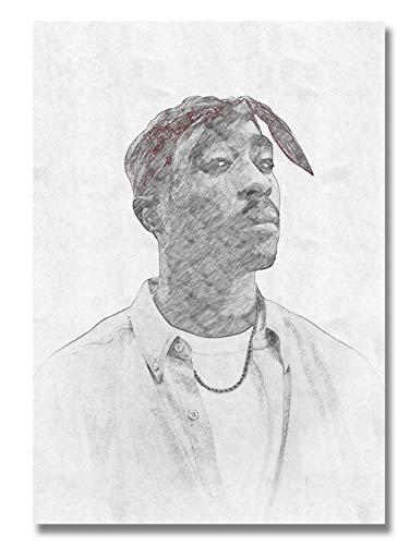 Ay Arts | 2Pac Poster [Limitiert] - hochwertige Zeichnung von Tupac Shakur (59,4 x 84 cm) | Schwarz Weiß Bleistift Plakat - Hip Hop Rap