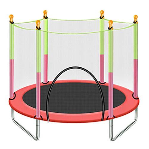 Olz Trampolines de Ejercicio para Interiores de 4.6 pies, trampolín Redondo con Red de cerramiento - Trampolín para Interiores o Exteriores para niños,Rojo