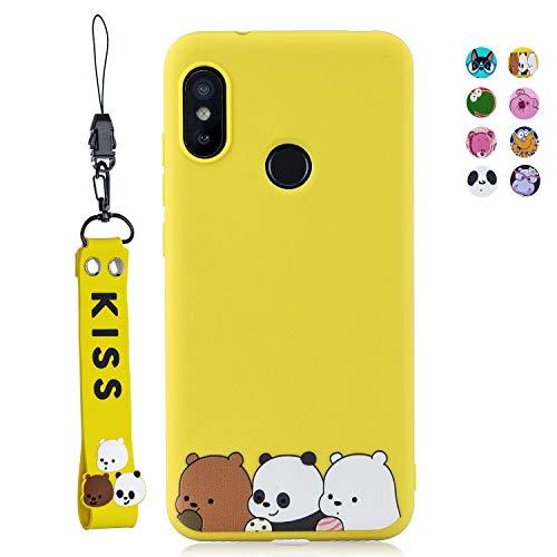 ChoosEU Compatible para Funda Xiaomi Mi A2 Lite Silicona Dibujos Oso Panda Creativa Carcasas para Chicas Mujer Niño, Case Blando Resistente Antigolpes Cover Caso Cordón con Correa - Pandas Amarillos