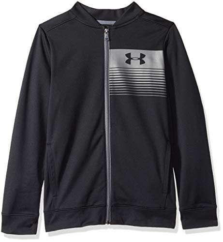 Under Armour Boys Novelty Pennant Jacket, Black (001)/Graphite, Youth X-Large