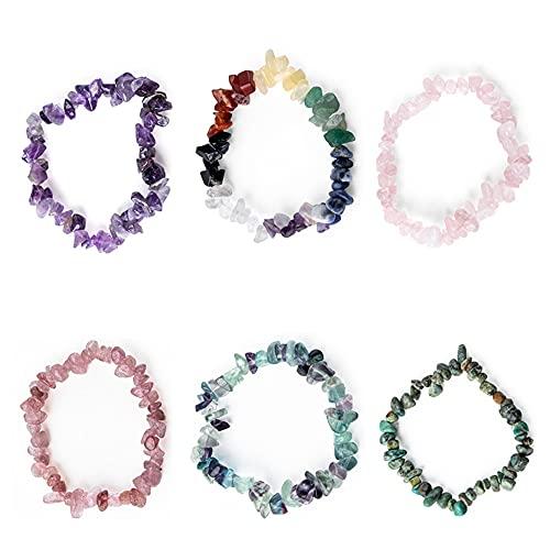 NEL 5 pulseras de cuentas de cristal de color al azar