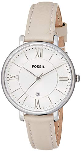 Fossil Women's Jacqueline Quartz Leather Three-Hand Watch, Color: Silver, Beige (Model: ES3793)