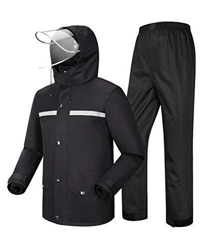 Coutyuyi Herren Regenanzug Reflektierender 100% Wasserdichter Anzug Outdoor Regenmantel Winddicht Regenjacke (XL, Schwarz)