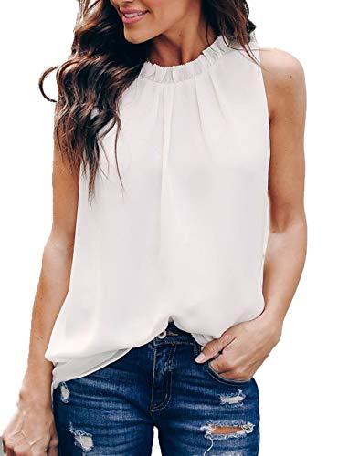 Allimy Women Summer Casual High Neck Chiffon Sleeveless Tank Tops Fashion Blouses 2018 White Medium