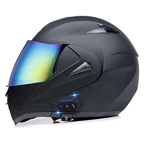 Casco bluetooth modular para casco integral de motocross de carreras aprobado por ECE con altavoces integrados Utilice un casco con doble visera solar para hombres adultos,B,S