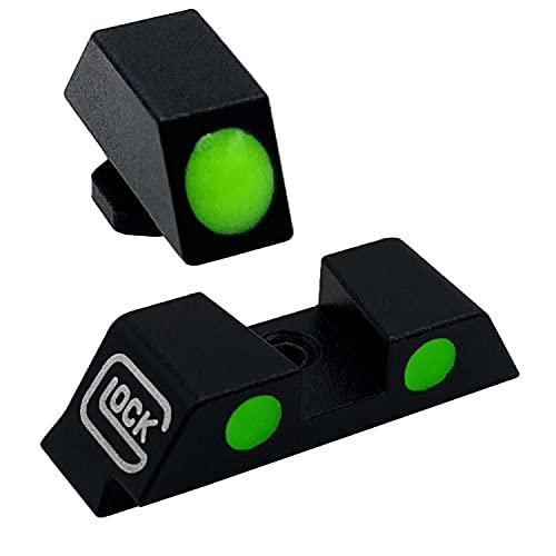 Ficero Night Sights for Glock, Fiber Optic 3-DOT Night Sights for Pistol Glock 17 17L 19 26 27 33 34 38 39, NO TRITIUM Green