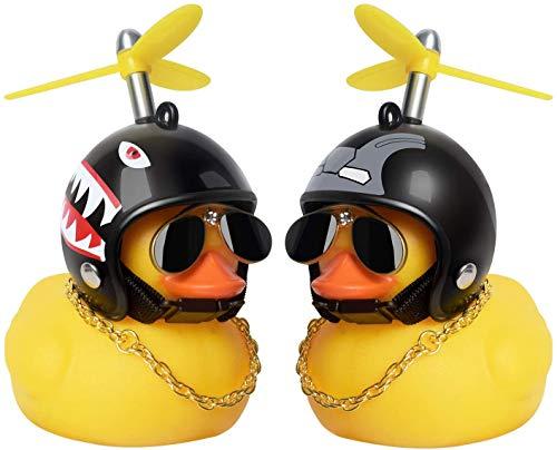N\A - Juguetes de pato de goma, adornos para coche de pato de goma, decoración de salpicadero de coche de pato, pato Cool con hélice, casco, gafas de sol, cadena de oro