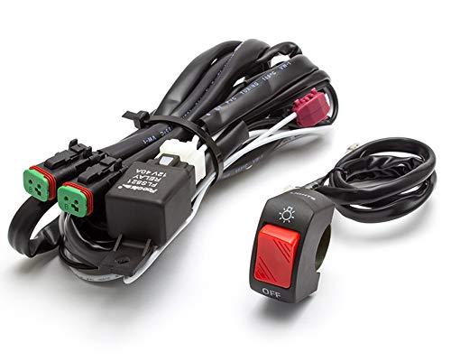 Motorrad Scheinwerfer Nebelscheinwerfer Kabelbaum Set mit ein/Aus-Schalter für Motorrad Trike Quad Atv