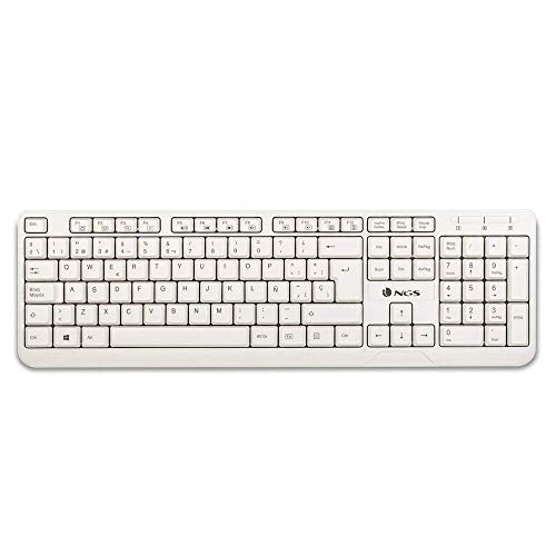NGS SPIKE Wired Keyboard with USB Connection and 12 Multimedia Keys, Membrane Keyboard in White Colour (Portuguese QWERTY)