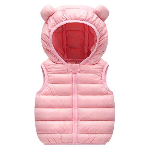 Baby Jongens Meisjes Down Vest Peuter Kids Padded Gilet Lichtgewicht Bodywarmer Mouwloos Puffer Jas Hooded Gewatteerde Jas Bovenkleding 3-4 Years roze