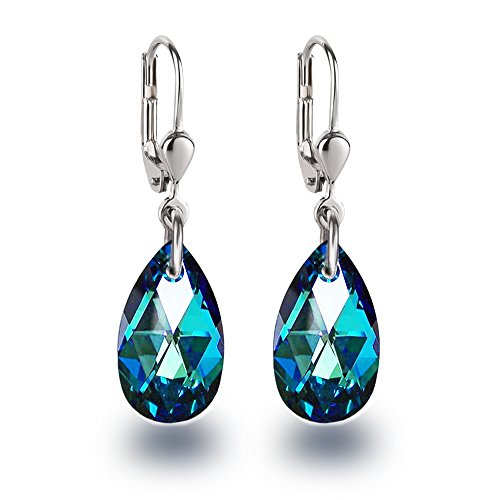 Schöner-SD Ohrringe mit Swarovski® Kristall 925 Silber Tropfen hängend 16mm Bermuda Blue blau