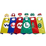 Super Mario Costumes for Kids, Yoshi Costume, Mario Cape and Mario Mask Set for Mario Birthday Party Supplies, Mario Costumes for Boys (6 Pack)
