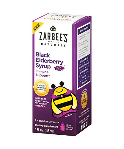 Zarbee's Naturals Children's Black Elderberry Syrup for Immune Support* with Real Elderberry, Vitamin C, and Zinc, 4 Ounce Bottle