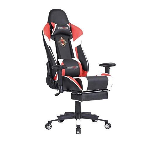 N/Z Tägliche Ausrüstung PU-Lederspielstuhl Liegender Home-Office-Stuhl mit Fußstütze Computerspielstuhl mit massierter Kopfstütze mit hoher Rückenlehne und Lordosenstütze (Farbe: Schwarz)