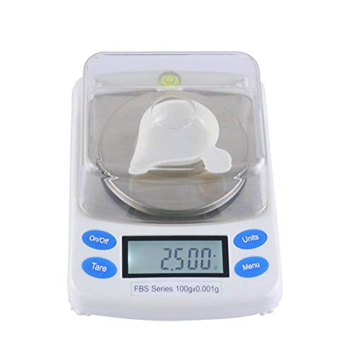Báscula electrónica digital de 0.001g, báscula de diamante para joyería precisa, balanza de análisis de laboratorio, 6 unidades con LCD, báscula de quilates de peso de joyería, función de tara (Colo