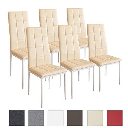 Albatros Silla Rimini, Set de 6 sillas, Beige, certificada por la SGS, Silla de Comedor